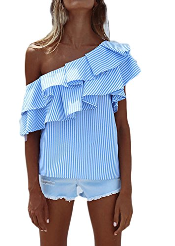 Camisas Mujer Verano Rayas Sin Mangas Hombros Descubiertos Volantes Elegantes Vintage Asimetricas Irregular Jovenes Moda Outdoor Casual Camisa Blusa Blusas Tops