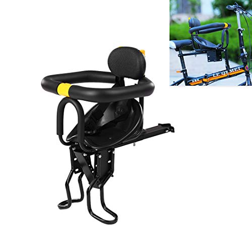Batop Fahrrad Kindersitz, Einstellbar Fahrradsitz Kind Vorne mit Leitplanke, Rückenlehne, Pedal, Babysitz Fahrrad Sattel für Faltbares Fahrrad MTB