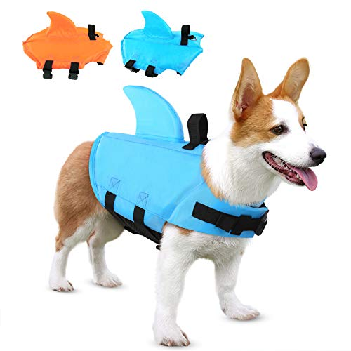 SUNFURA Pet Life Jacket, Dog Swimsuit with Shark Fin, Swimming Float Saver with Superior Buoyancy and Rescue Handle for Small Medium Large Dogs(Blue,M)