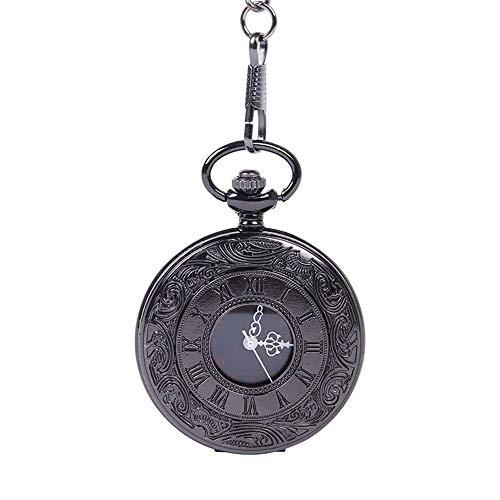 Reloj Bolsillo Neutral Reloj Bolsillo Reloj Bolsillo Cuarzo Vintage Reloj Bolsillo con patrón números Romanos Tallado clásico (Relojes mecánicos para Hombres)