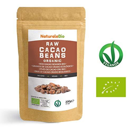 Roh Kakaobohnen Bio 200g | Organic Raw Cacao Beans | 100 % Rohkost, Natürlich, Rein | Produziert in Peru aus der Theobroma Cocoa Pflanze | Superfood reich an Antioxidantien, Mineralien und Vitaminen.
