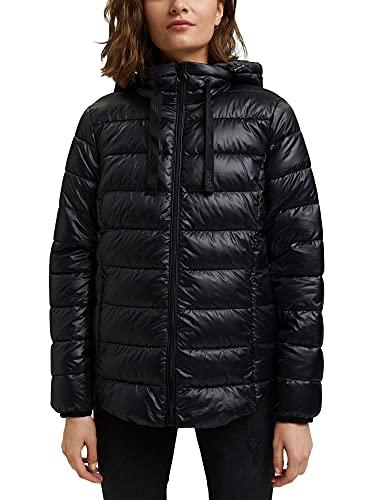 ESPRIT Reciclable: chaqueta acolchada con capucha variable., Negro , XL