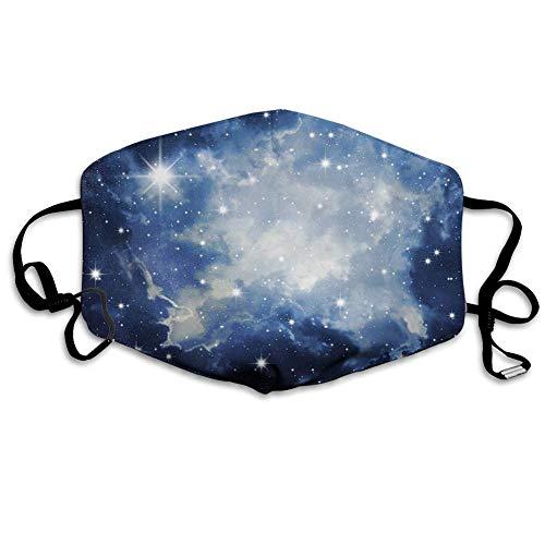 Bequeme Winddichte Maske, Sternbild, Blaue Galaxien im Nachthimmel Himmlisches Bild Sterne Nebel, dunkelblau hellblau weiß