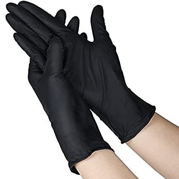 100 Pcs Disposable Gloves X Large - Nitrile and Vinyl Blend Latex and Powder Free Black Gloves