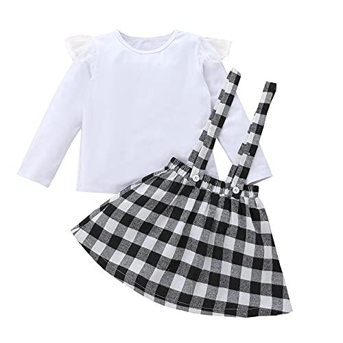 Alunsito Conjunto de ropa de niña de 2 piezas de manga larga con volantes camiseta superior a cuadros tirantes falda niño otoño invierno ropa, blanco, 4-5 años