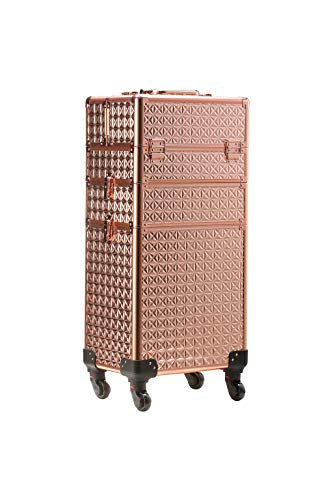 Rolling Train Case 4-in1 with extra lid Portable Makeup Train Case Professional Cosmetic Organizer Makeup Traveling case Trolley Cart Trunk (Rose Gold)