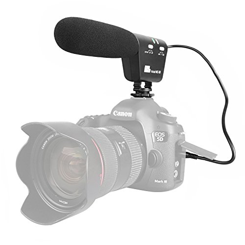Sutefoto Micrófono para Entrevistas, Cámara Micrófono Escopeta Micrófono Video Mic con Montura Antichoque Compatible para Canon Nikon DSLR Cámara DV Videocámara (Necesita Interfaz de 3.5 mm)
