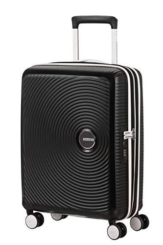 American Tourister Soundbox Spinner Maleta de Mano S (55 cm, 41 L), Negro (Black/White)