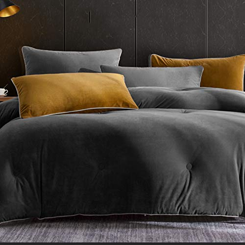 Comforters Lamb Cashmere Double-sided Duvet, hypoallergenic Soft Not Easy Pilling Reversible Down Quilt,for Queen Size Bed All Season Duvet With Tabs (79 * 91in) ZX