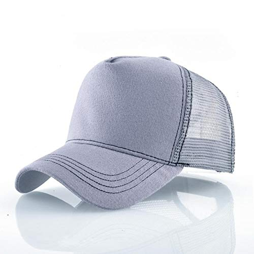 Gorras de béisbol de Moda Hombres Mujeres Snapback Hip Hop Sombrero Verano Malla Transpirable Sun Gorras Unisex Streetwear-Gray