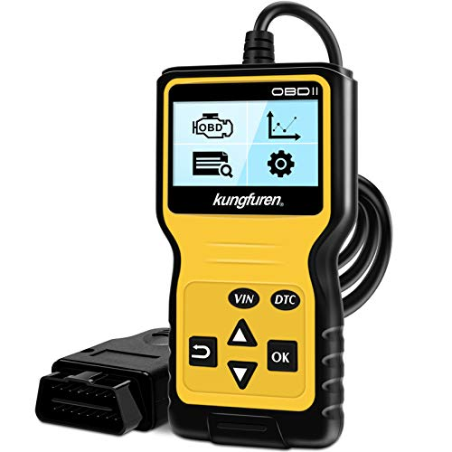 kungfuren OBDII Scanner Tool, Universal OBD2 Code Reader for Car Automotive Check Engine Light Error Analyzer Auto CAN Vehicle Diagnostic Scan Tool for OBDII Protocol Cars Since 1996