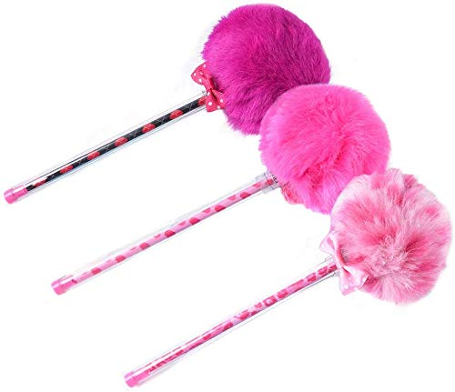 MoreLucky 3 bolígrafos de gel suave multicolor esponjosos con pompones de color caramelo neutro, tinta negra, 0,5 mm, relleno de calcetín (morado, rosa y rojo)
