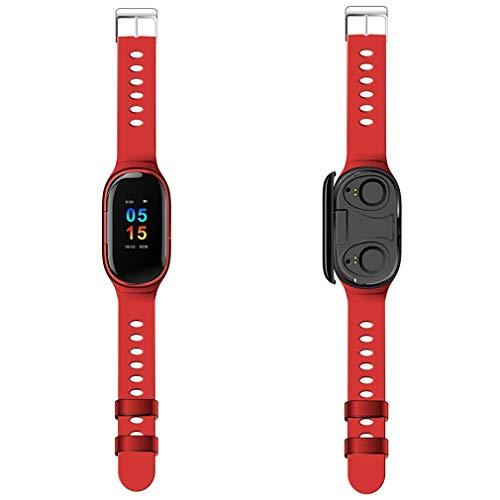 Muanser Smartwatch-armband, waterdicht, voor sport, 2-in-1, draadloos, bluetooth-hoofdtelefoon, oplaadbaar, blauw, onzichtbaar met dubbele tanden, blauw