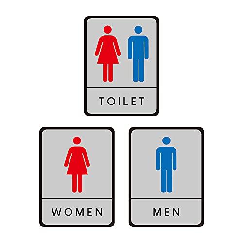 ★新商品★【サインキングダム】トイレ標識 サインプレート WC お手洗い 飲食店 男性用 女性用 共用 車イス対応 車椅子 障害者 障がい者 多目的 4種[gs-pl-toiHIJ] (WOMEN+MEN+TOILET)
