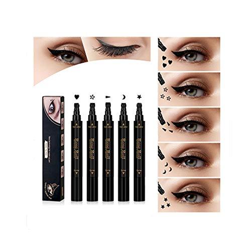 Tampons Eyeliner liquides à double tête Imperméable et résistant aux taches Stylo Liner Black Eyes Embellissement à double usage à séchage rapide Outils de tatouage (5pcs, noir)