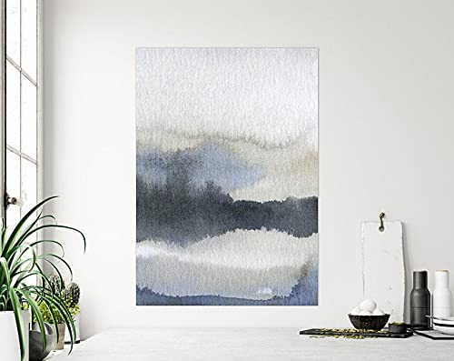 AZSTEEL Black and Grey Abstract Watercolour Painting, Minimalist Stormy Moody Contemporary Landscape Fine Art Prints On Cotton Paper