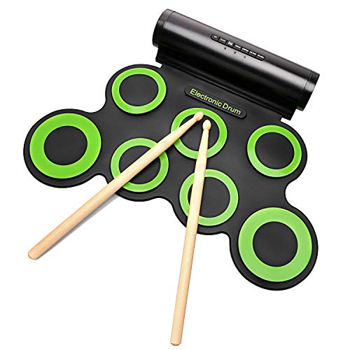 Electronic Drum Set, Portable Electronic Drum Pad - Built-In Speaker (DC Powered) - Digital Roll-Up Touch 7 Labeled Pads and 2 Foot Pedals, Midi Drum Up to 10H Playing Time, Holiday Gift for Kids
