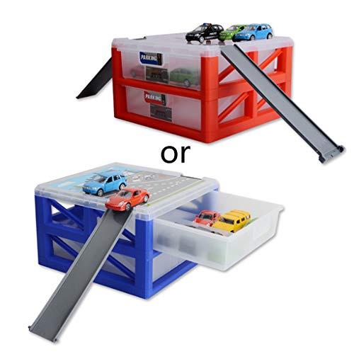 1 Set tragbare große Aufbewahrungsbox mit doppelter Schublade, Parkkoffer, für Mini-Auto-Modell-Spielzeug