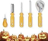 HJWL Herramientas de Talla de Calabaza, Kits de Talla de Calabaza, Herramientas de Talla de Acero Inoxidable Duty para Halloween Conjunto Esencial de la Familia de Halloween 5 Piezas
