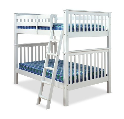 4FT OVER 4FT AMANI MALVERN BUNK BED IN WHITE WITH 2 FLEX 1000 MATTRESSES