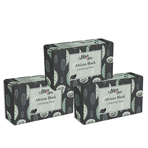 Mirah Belle - African Black Cleansing Soap (Pack of 3 - 125 GMS) - Organic and Natural- Anti Acne, Blemishes, Infection, Rashes - Vegan and Handmade - 375 gms