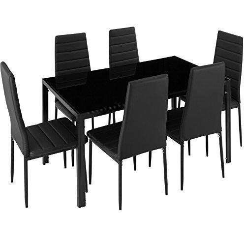 TecTake 800551 Juego de Muebles, Set de 6X Sillas & Mesa, Conjunto Mobiliario, Cocina Comedor Salón, Cuero Sintético PVC, Nuevo (Negro)