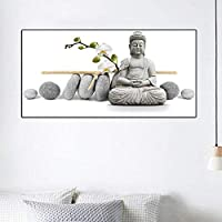 1ピース蘭白仏像壁アート写真リビングルーム用HDプリントキャンバスに油絵家の装飾寝室のポスター20X40cmフレームレス