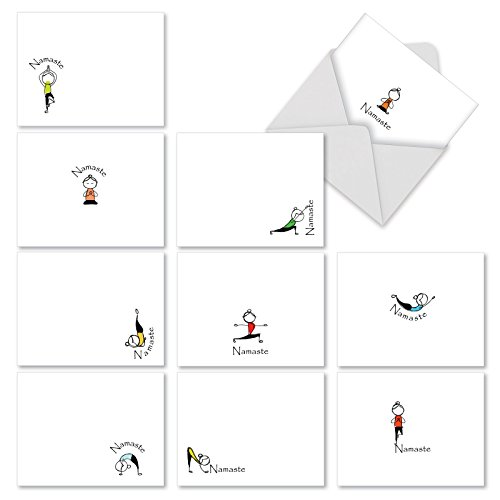 The Best Card Company - 10 Blank Yoga Note Cards Bulk (4 x 5.12 Inch) - Assorted Stick Figure and Animals Cards - Namaste Notes M3963