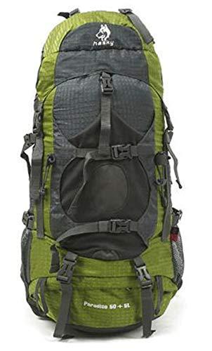 RatenKont Montañismo al Aire Libre 50 + 5L Sistema Mochila Gran Capacidad con Funda Impermeable Green Color 50-70L