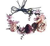 Adjustable Flower Headband Bridal Flower Crown Hair Wreath Floral Headpiece Halo Boho with Ribbon Wedding Party Festival Photos Brown by Vivivalue