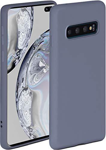 ONEFLOW Soft Hülle kompatibel mit Samsung Galaxy S10 Plus Hülle aus Silikon, erhöhte Kante für Displayschutz, zweilagig, weiche Handyhülle - matt Blau Grau