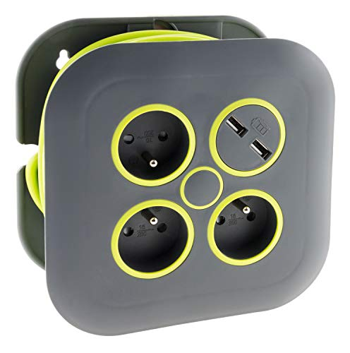 Zenitech Haushaltstrommel 3 Steckdosen 2P + T 16 A + Stromschutzschalter + 2 x USB – Grau/Grün