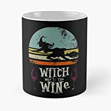 Witch Way To The Wine Halloween Costume Drinking Classic Mug -11 Oz Coffee - Funny Sophisticated Design Great Gifts White-situen.