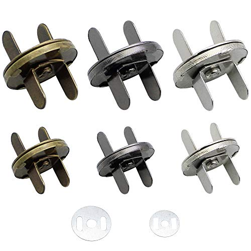 SPTwj 30sets Botón Magnético Cierre magnético Broches para manualidades costura monederos bolsos ropa cuero Ø18mm y Ø14mm