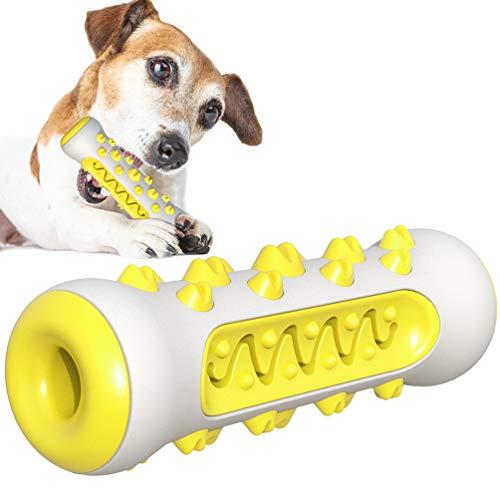 AFFINEST Kauspielzeug für Hunde Hundezahnbürste Kauen Hundespielzeug Backenzahn Interakt Welpen Zahnbürste ungiftiger Gummi-Beißschutz langlebige Zahnreinigung Gelb