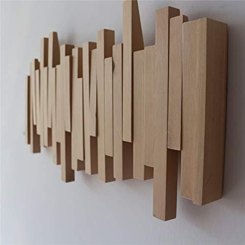 feilai Garderobenleiste aus Holz mit Klapphaken, rustikal, Wandgarderobe, Möbel, Flur, Eingang, Organizer zum Aufhängen von Mänteln, Geldbörsen (Größe: 30 x 18 cm, 3 Haken)
