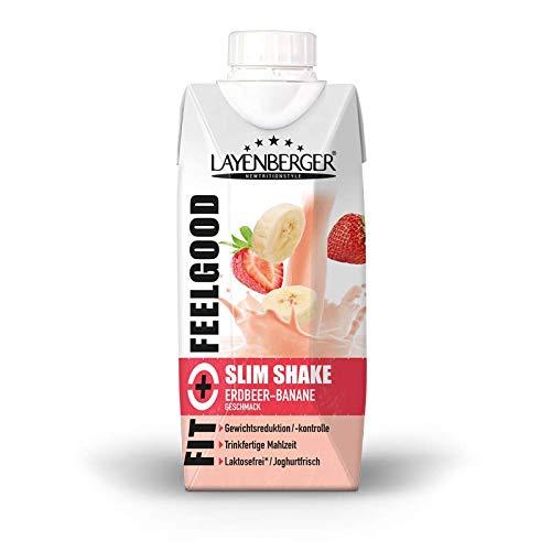 Layenberger Fit+Feelgood Slim Shake Erdbeer-Banane, Trinkfertige Mahlzeit zur Gewichtsabnahme und -kontrolle, ersetzt eine Mahlzeit bei nur 208 kcal, glutenfrei, laktosefrei, (8 x 330ml)
