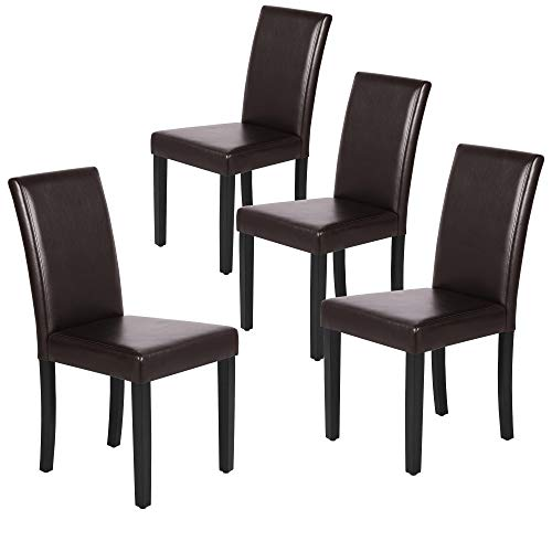 Yaheetech Dining Chair Living Dining Room PU Cushion Diner Chair Kitchen Dining Chairs with Solid Wood Legs Set of 4, Brown Dark Brown Dining Set