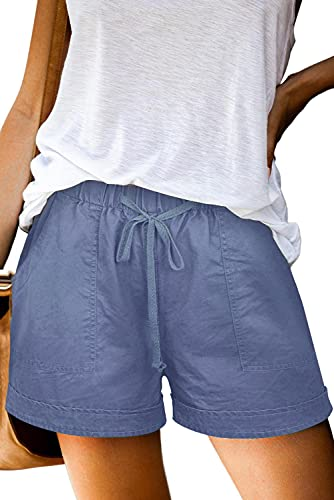 Heymiss Womens Casual Drawstring Elastic Waist Pocketed Loose Lounge Shorts Light Blue L