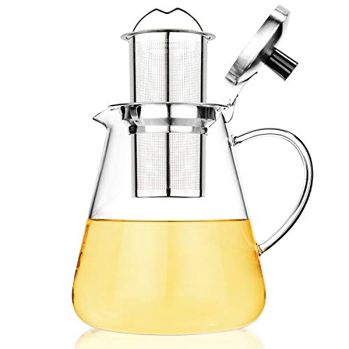 Tealyra - 40-ounce JUNO GLASS TEAPOT - Stove-Top Safe - Large Borosilicate Glass Pot - Kettle - w/Removable Stainless-Steel Infuser - Best For Loose Leaf or Blooming Tea - 1200ml - Makes 4-5 cups