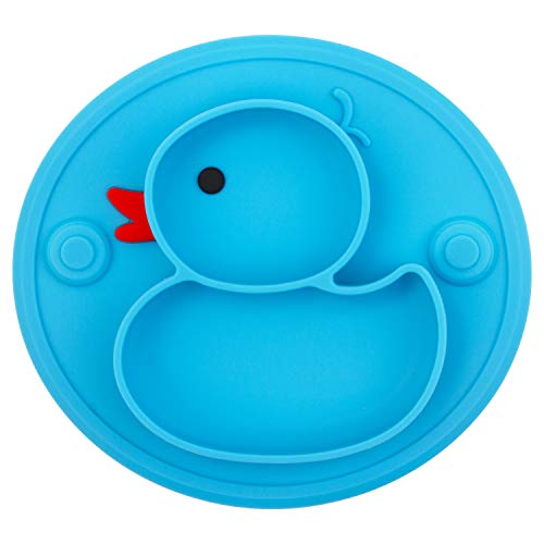 Silicone Divided Toddler Plates, Portable Non Slip Suction Plates for Children Babies and Kids BPA Free Baby Dinner Plate (Duck-Blue)