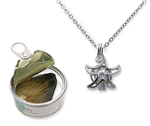 Pearlina Wish Upon a Star Cultured Pearl in Oyster Necklace Set Silver Plated Cage Pendant W/Stainless steel chain 18'