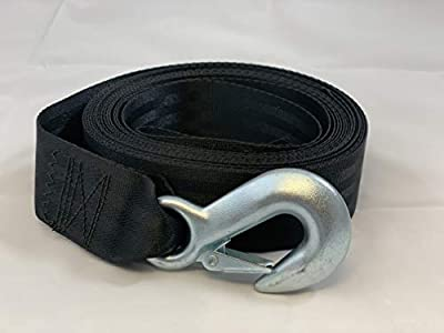 Safety2Go 20 Foot Winch Strap with Hook 2 Inch by 20 Feet Replacement 10000 lbs Breaking Strength 3300 lbs Load Capacity for Boat, Jet Ski, Black (1 Pack)