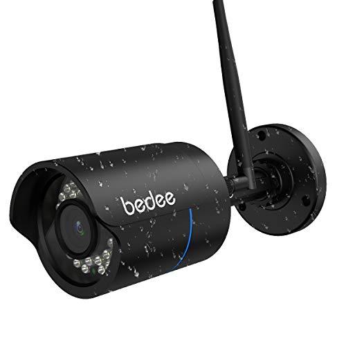 WLAN IP Kamera bedee 1080P WIFI Überwachungskamera FHD Außenkamera mit IR Nachtsicht, Fernalarm, Bewegungserkennung, 128G Karte Slot, 9.8ft Kabel Wasserdichte Sicherheitskamera für Innen Außen Monitor