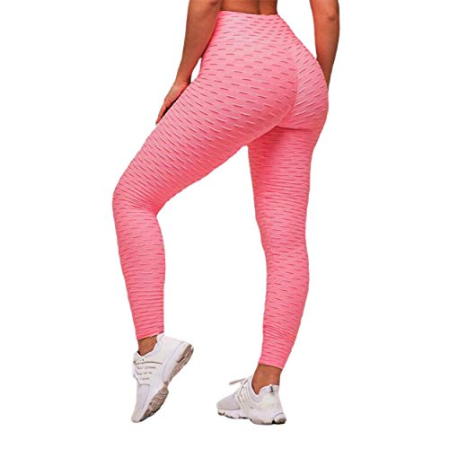 gfjfghfjfh Leggings Deportivos Mujer Gimnasio Cintura Alta Push Up Yoga Pantalones Jacquard Fitness Legging Pantalones para Correr Mujer Pantalones Deportivos Ajustados - Rosa S