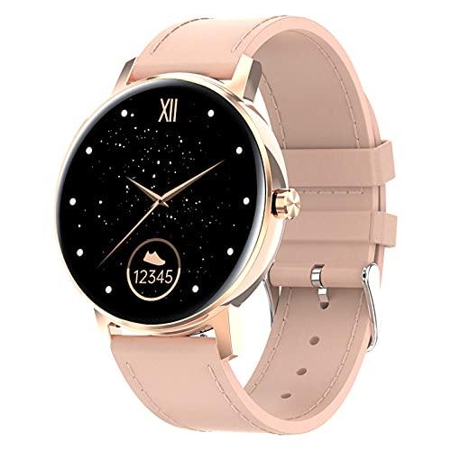 QFSLR Reloj Inteligente Mujer Y Hombre, Smartwatch Impermeable IP67 con Llamada Bluetooth Monitor De Frecuencia Cardíaca Seguimiento del Sueño Podómetro Reloj Fitness Android Y iOS,Rosado