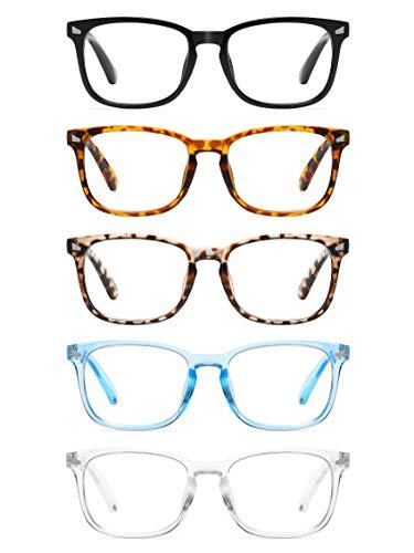 CCVOO 5 Pack Reading Glasses Blue Light Blocking, Filter UV Ray/Glare Computer Readers Fashion Nerd Eyeglasses Women/MenC1 Mix, 1.75)