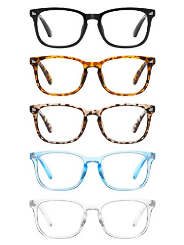 CCVOO 5 Pack Reading Glasses Blue Light Blocking, Filter UV Ray/Glare Computer Readers Fashion Nerd...
