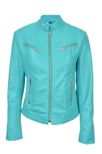 Damen Motorradjacke Speed Turquoise Washed Cool Retro Biker Style Fitted Motorrad Designer Lederjacke Gr. 36, türkis