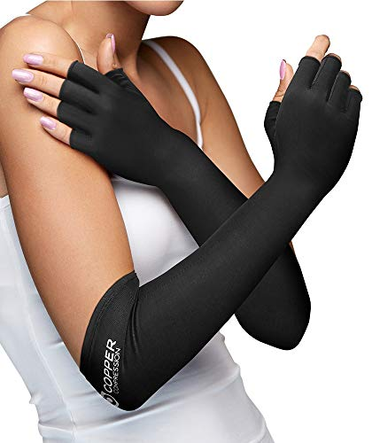 Copper Compression Long Arthritis Gloves - Guaranteed Highest Copper Content. Best Copper Infused Extra Long Fit Glove for Women + Men Carpal Tunnel Computer Typing Support Hands Wrist 1 Pair (Large)